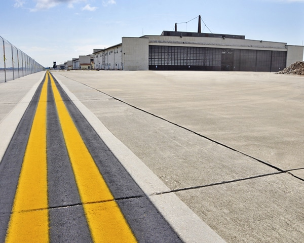 Pavement outside of Hangar